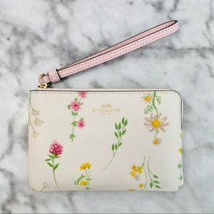 Coach Wildflower Corner Zip Wristlet Wallet